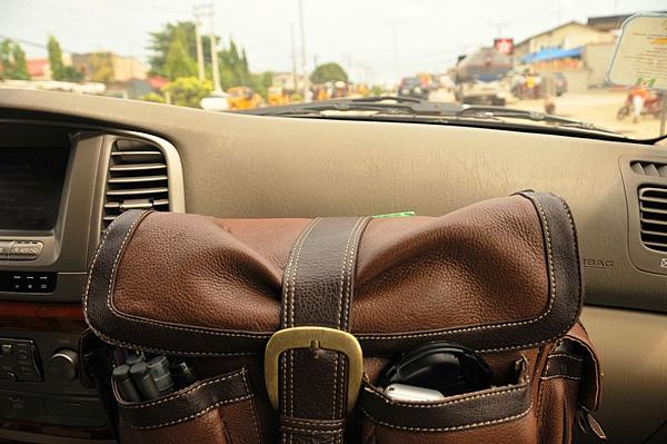 Camera bag in car