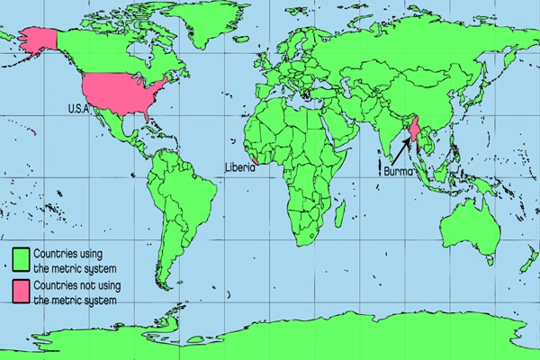 Metric Map Which Countries Dont Belong With The Others - Map of us customary system