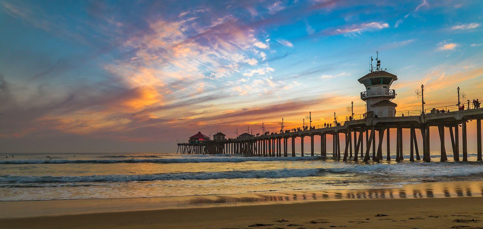 Huntington Beach California sunset landscape destination