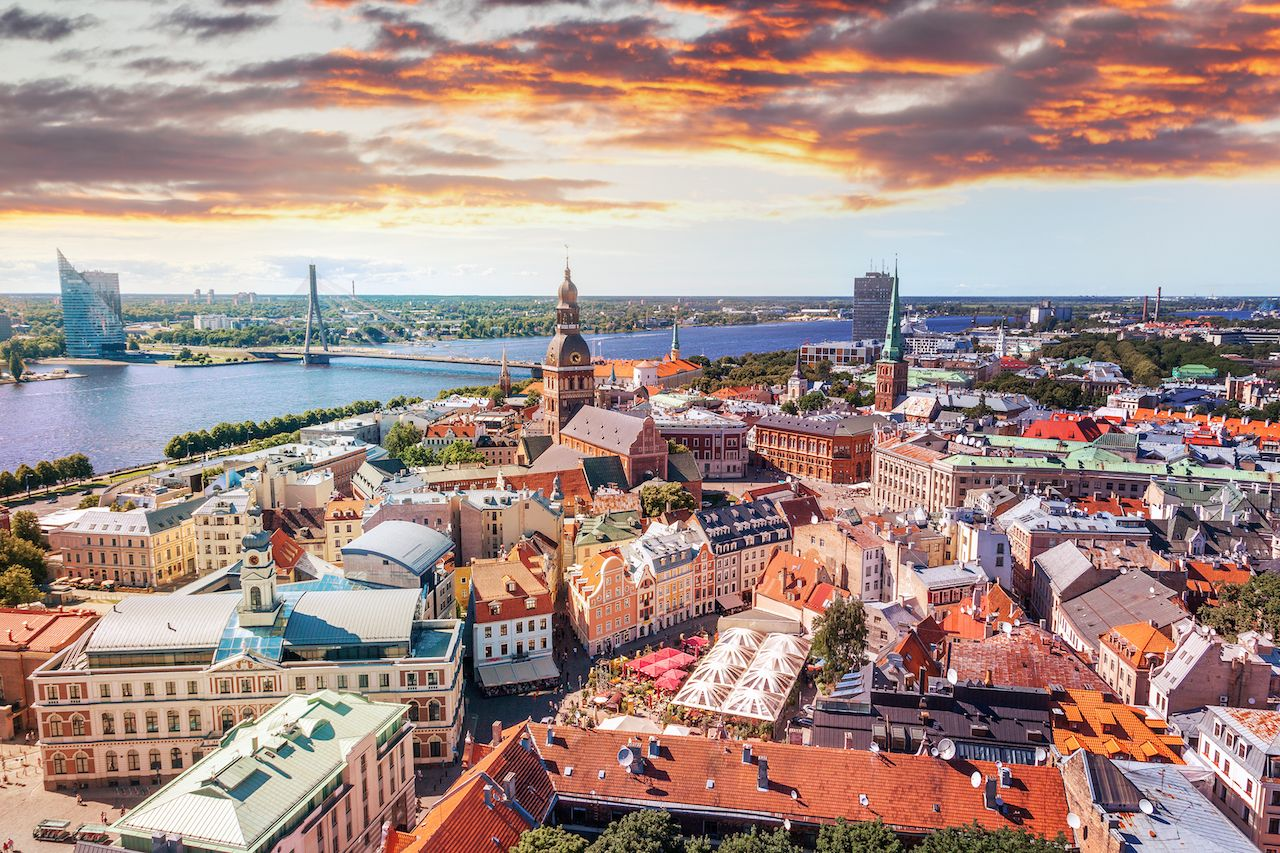 Panorama view from Riga Cathedral on the old town of Riga, Latvia