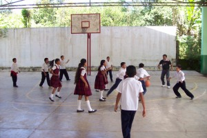 Playing basketball in Mexico