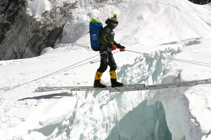 on one of the many ladders in the Icefall