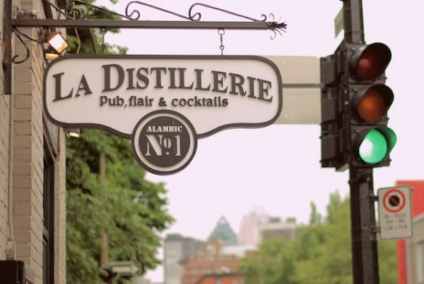 The exterior sign for La Distillerie