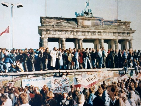 A crowd gathered at the fall of the Berlin Wall