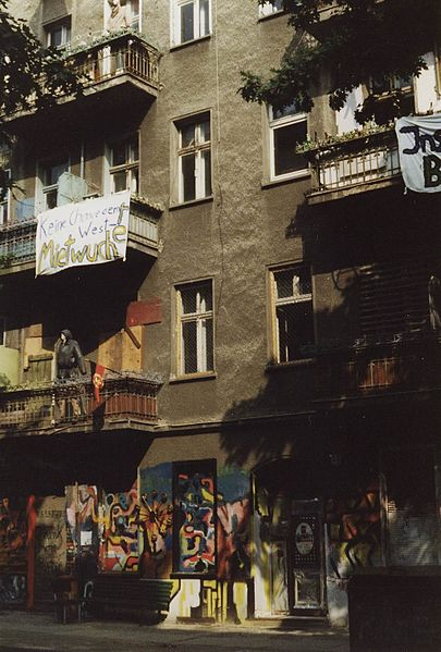 A street view of a squat on Kreuziger Strasse