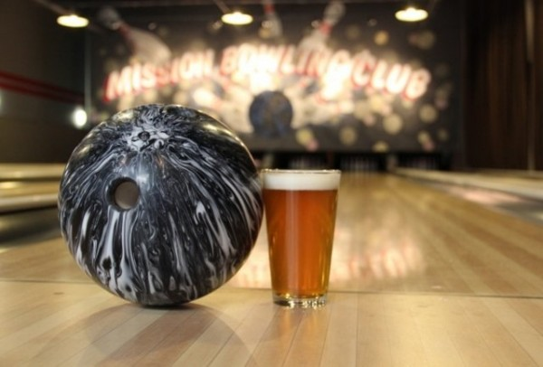 A bowling ball and beer at Mission Bowling Club