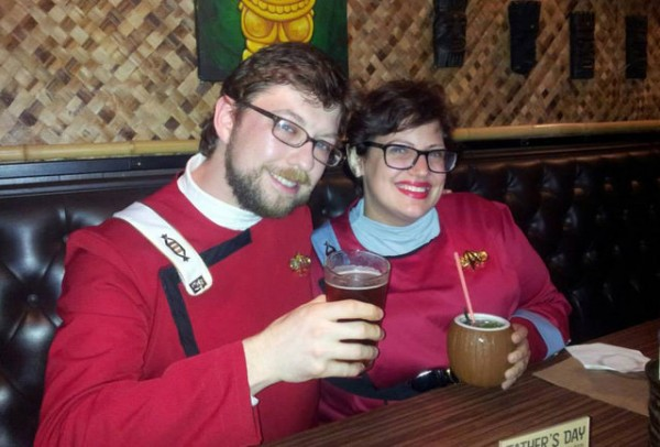People wearing Star Trek uniforms