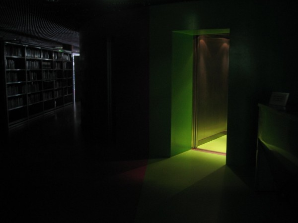 A green light in an elevator