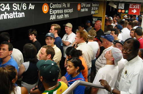 People getting on the subway