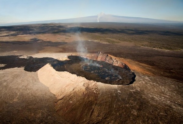 An aerial view of a volcano