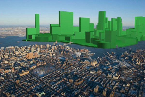 Green blocks on a picture of the city