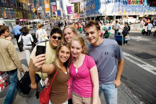 A group of people taking a self portrait
