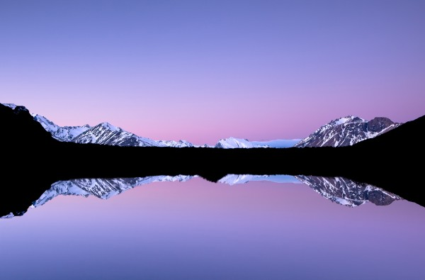 Mountains reflected in the water