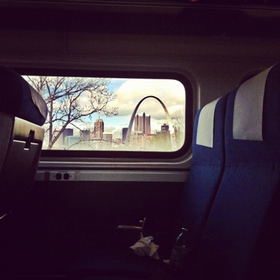 A view out the window of a train