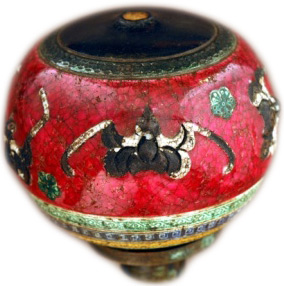 A pipe with red bats on it