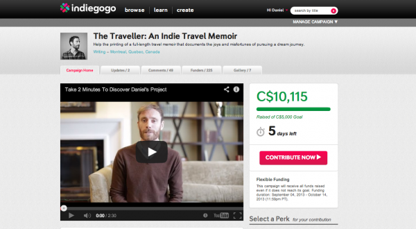 A screenshot of Daniel's IndieGoGo Page