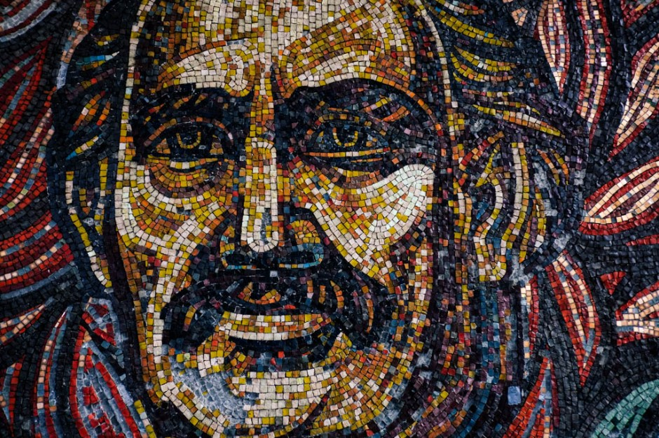 Mosaic detail of a face