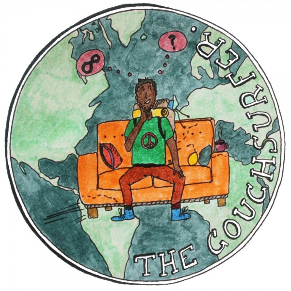 An illustration of a couchsurfer