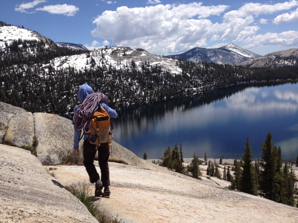 Lisa Bedient above Tenaya Lake