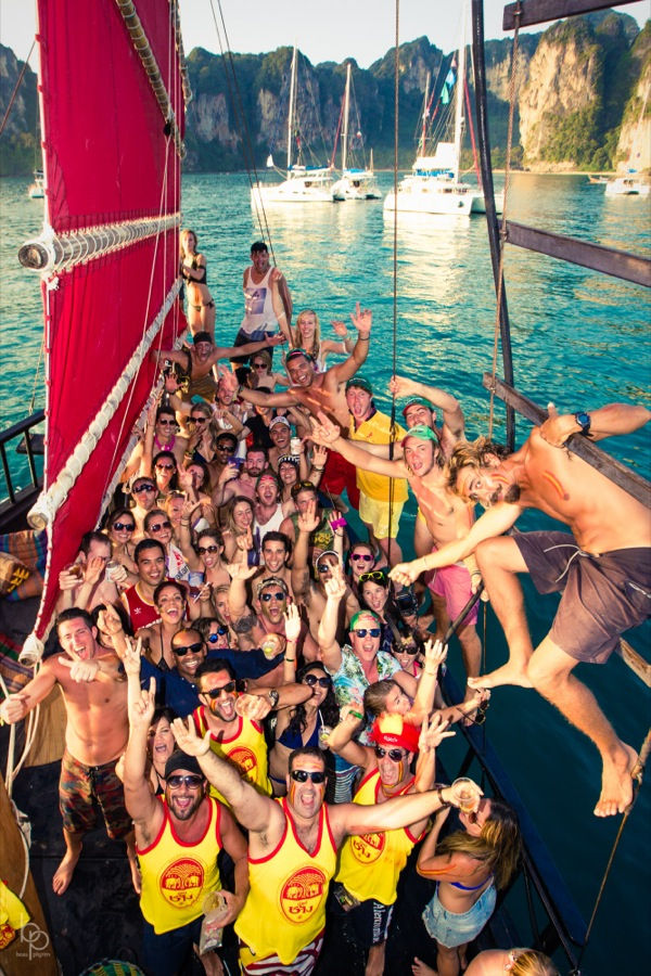 A big crowd of people on a boat