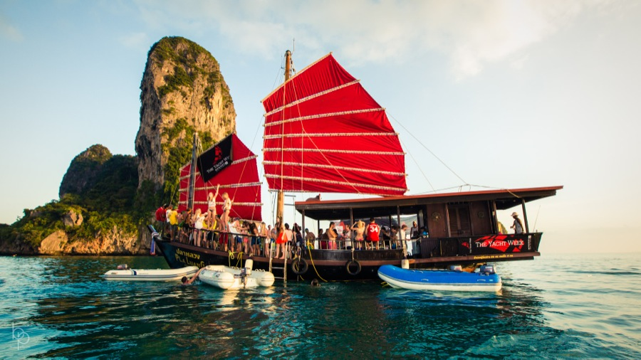 Thai boat with red sails