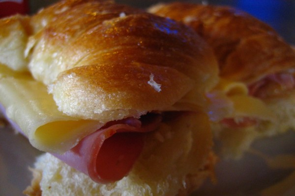 Croissants with ham and cheese