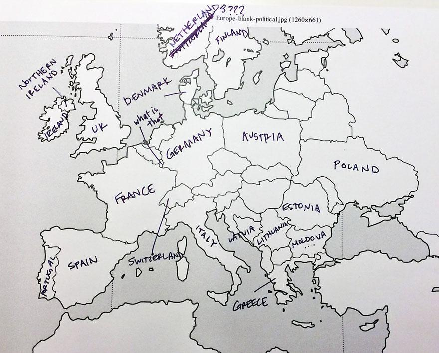What happens when Americans are asked to identify European countries