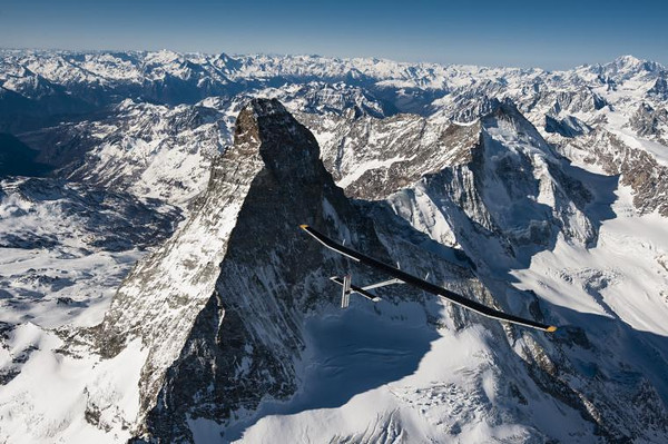 Solar Impulse over mountains