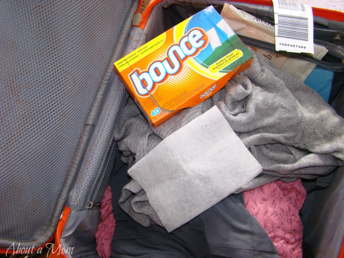 dryer sheets in luggage