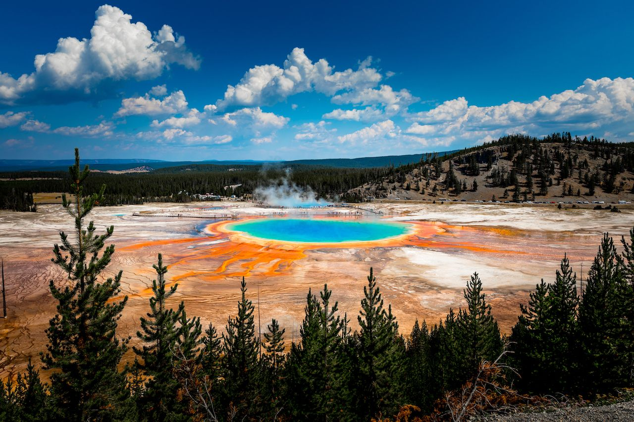 Grand Prismatic Spring view at Yellowstone National Park