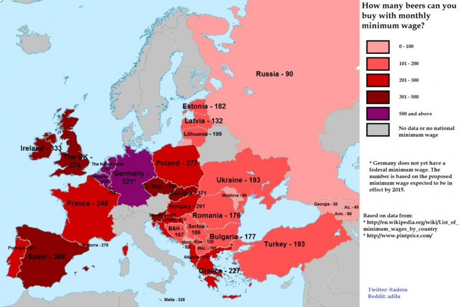 How many beers can you buy (in Europe) with your minimum wage?