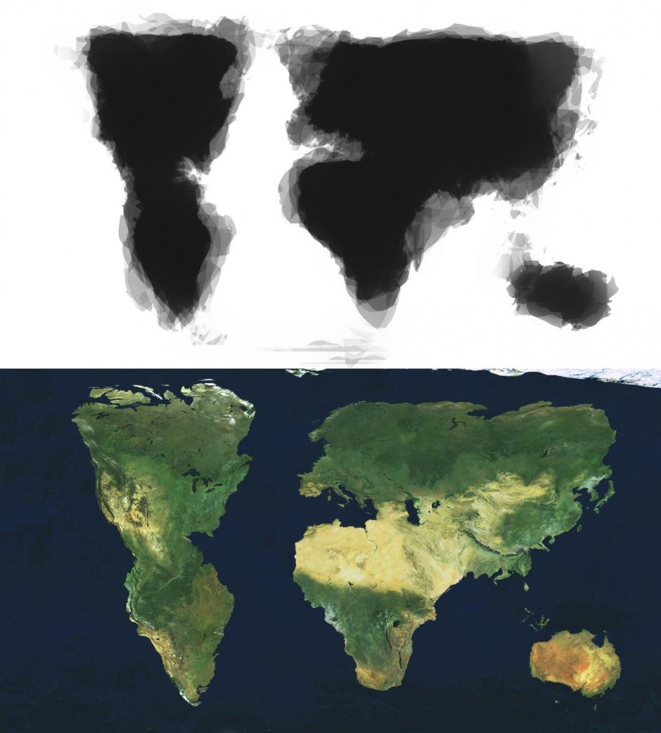 Composite map of 30 people's attempts to draw the world