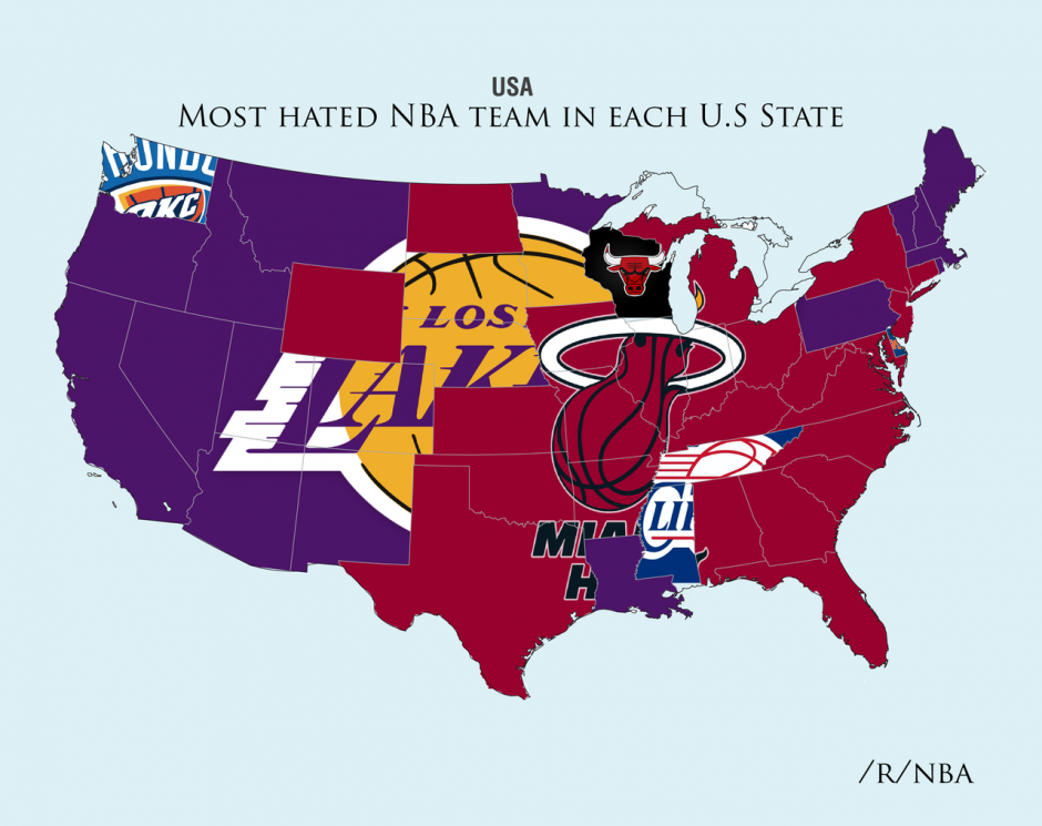 The most hated NBA teams by state
