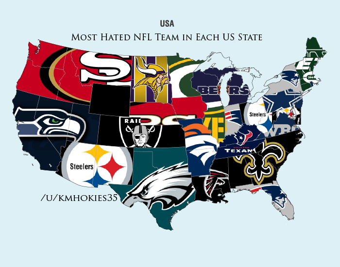 The most hated NFL teams by state