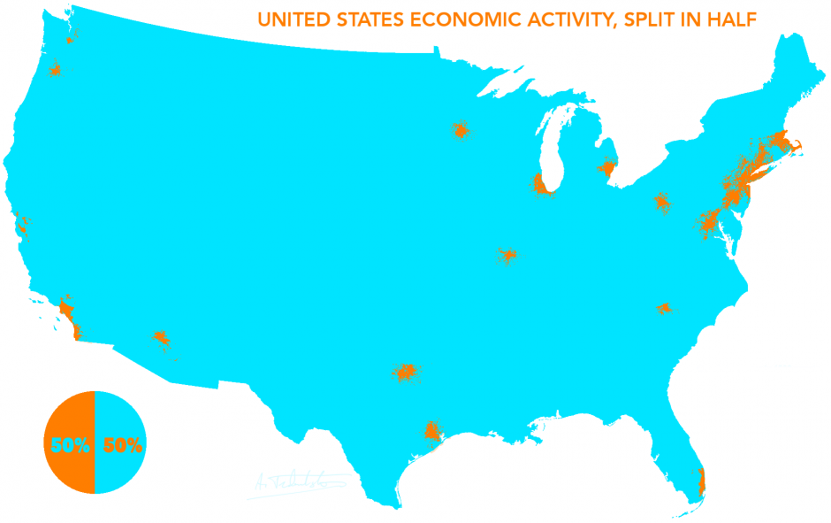 The US GDP split in half