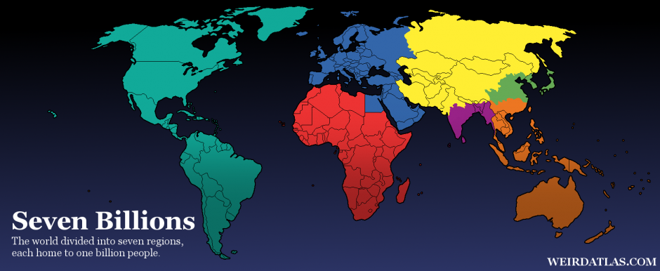 The world split up into billions
