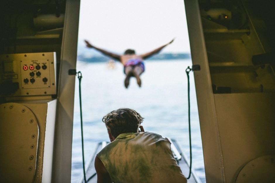 behind the shot swan dive