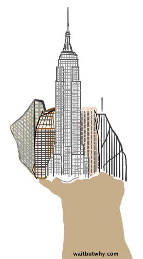 New York finger illustration