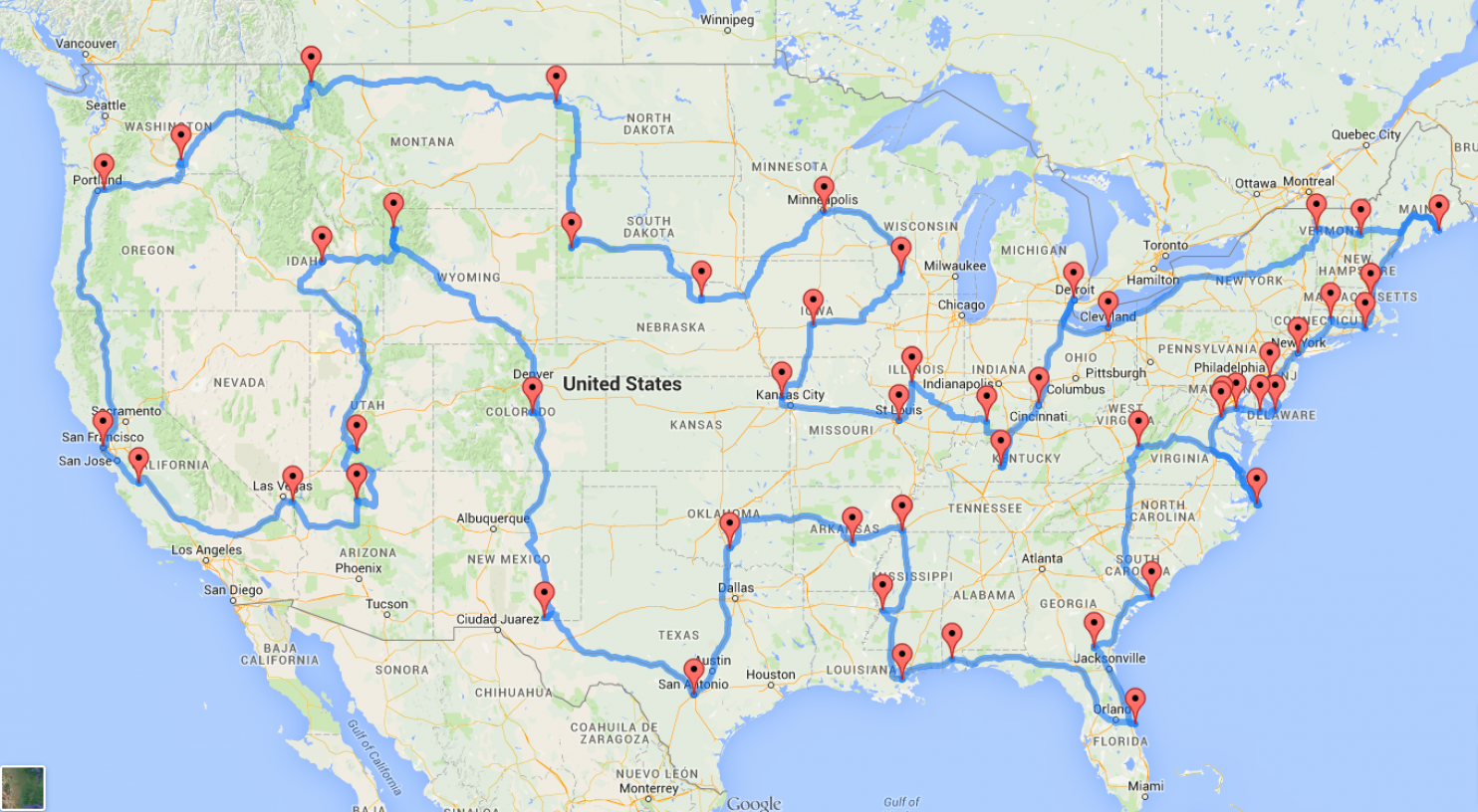 Ultimate US road trip map