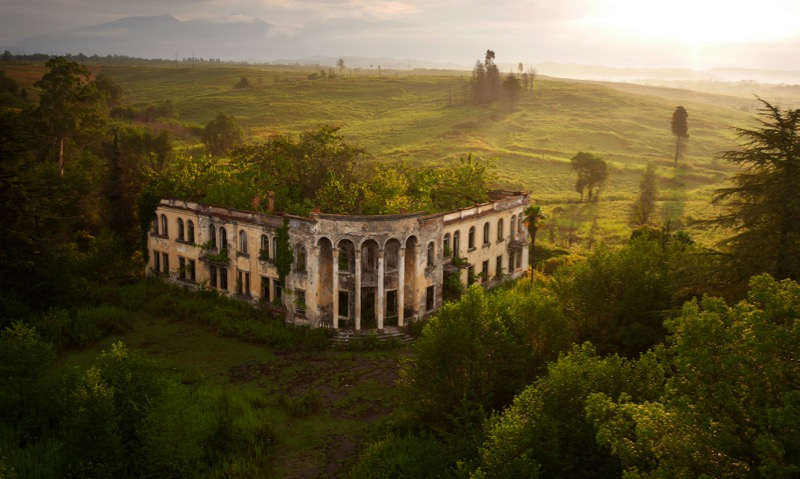"A ruined college in Gali, near the ""border"" with Georgia, where ethnic Georgians made up 96% of the region's pre-war population. Most fled, or were driven out of their homes after the war. Today Gali is a twilight zone of empty buildings and overgrown farmland."
