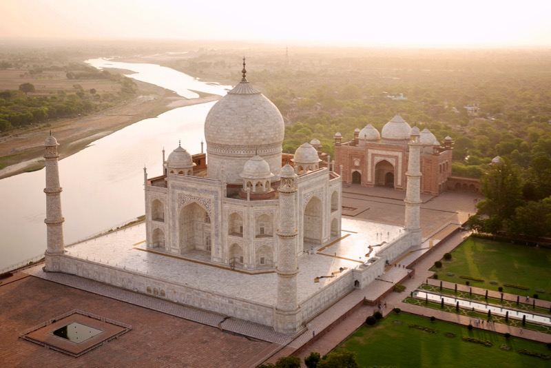 The Taj, with the Yamuna river snaking away towards its source in the Himalayas.