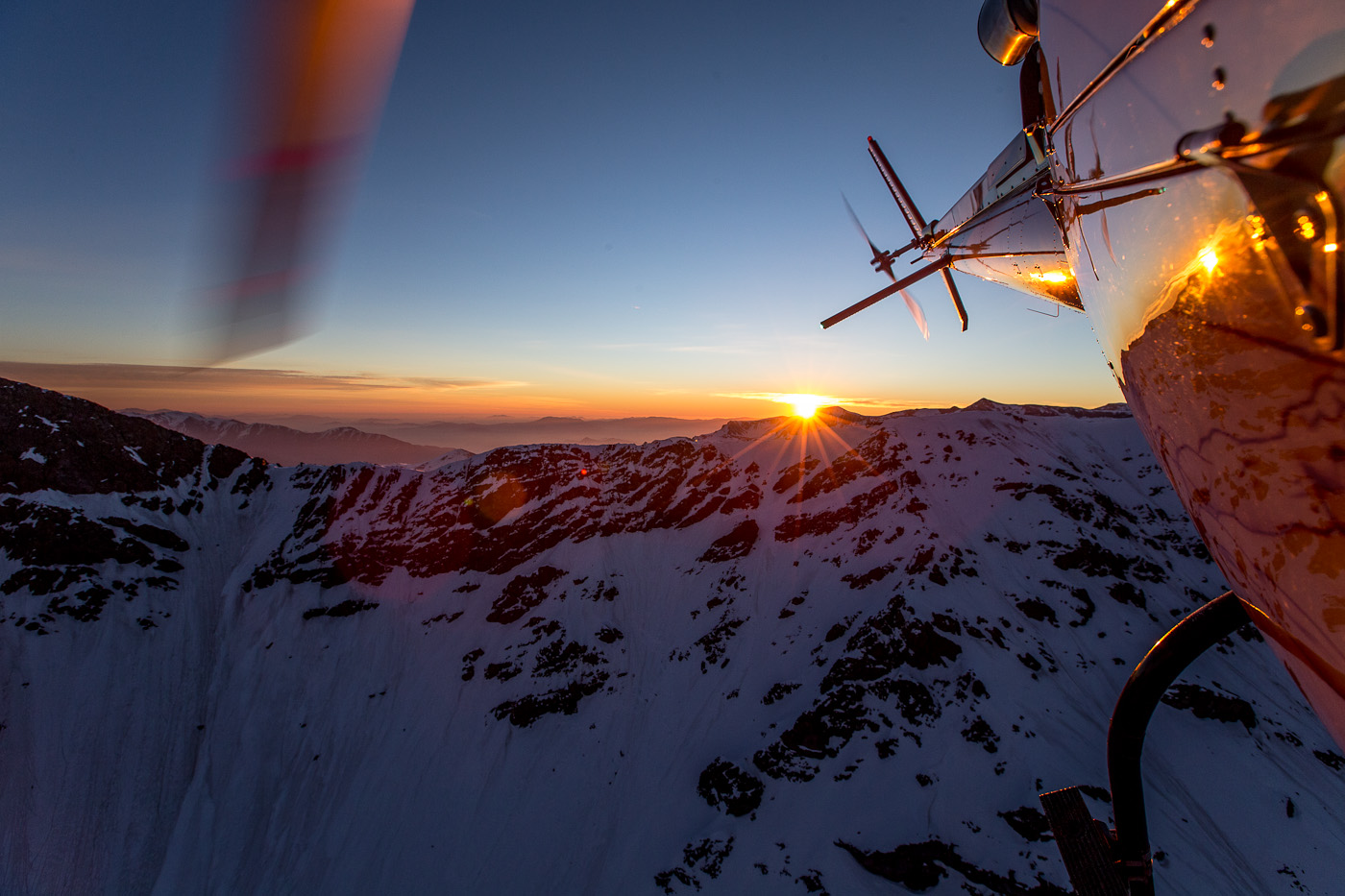Photo: There is no better way to explore the Andes than by helicopter which is only 100 yards away when you wake up in Valle Nevado. Valle Nevado Heli-ski offers the most experienced pilots and guiding service in the country.