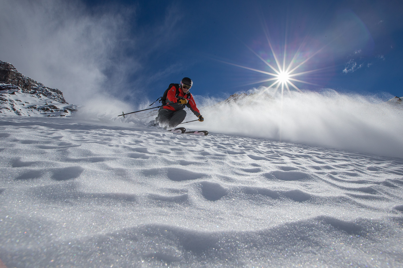 Photo: Despite a record low snow year in 2014, Reggie Crist, still manages to find untracked powder around every corner. The massive relief found in the Andes provides ample opportunity to find the best skiing on the planet during the month of August.
