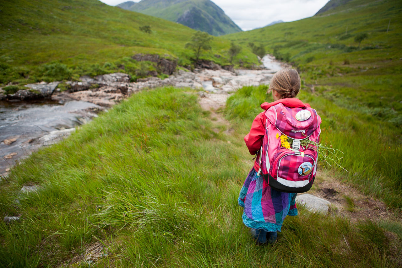 Little girl with bagback