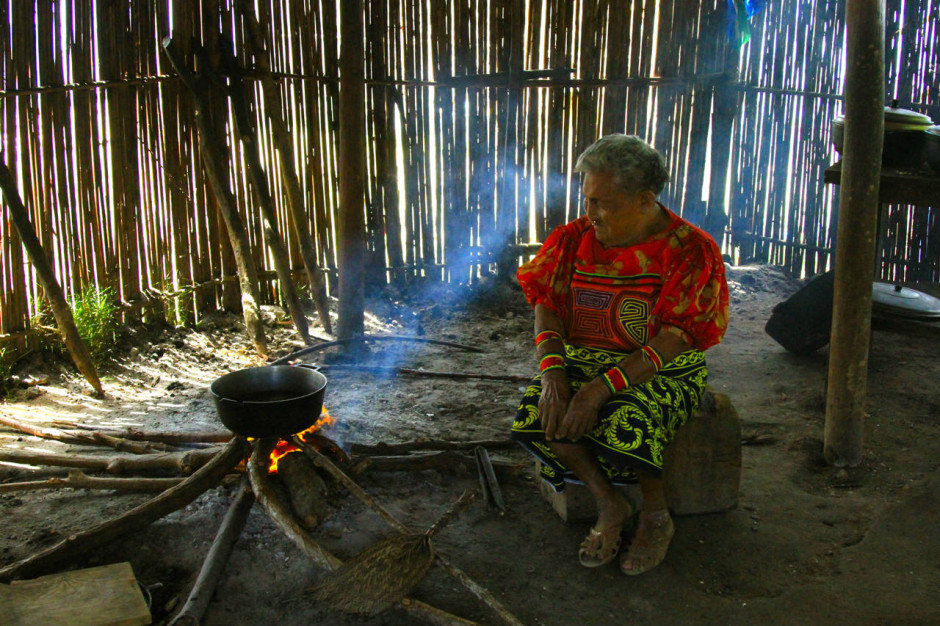 Grandma in the cooking hut.