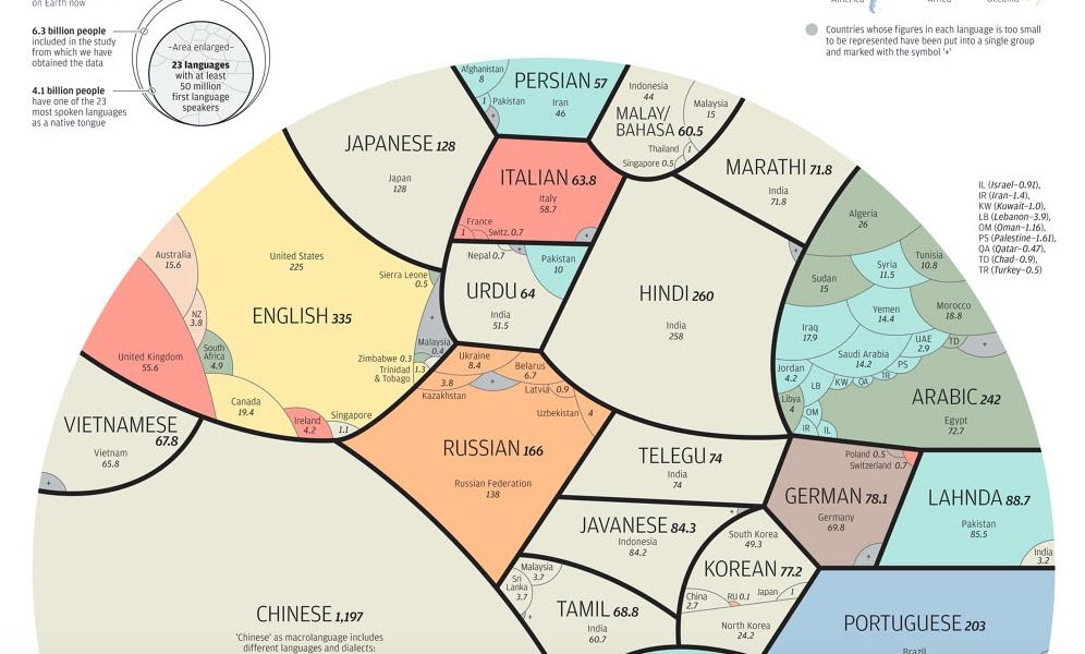The Worlds Most Spoken Languages In A Single Beautiful Graphic - How many types of languages are there in the world