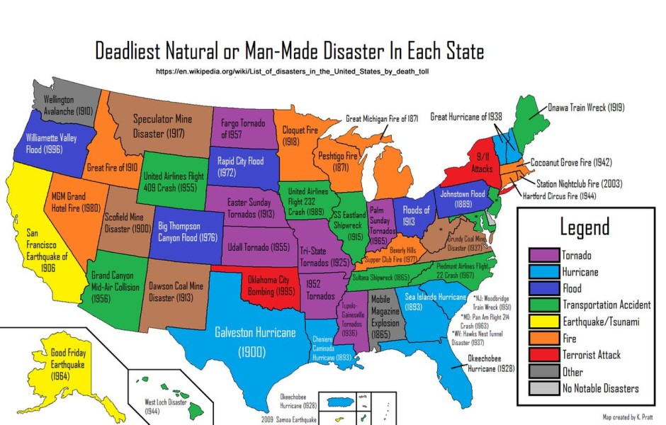 33 awesome maps that will help you understand the world the deadliest natural disaster in each state gumiabroncs Choice Image