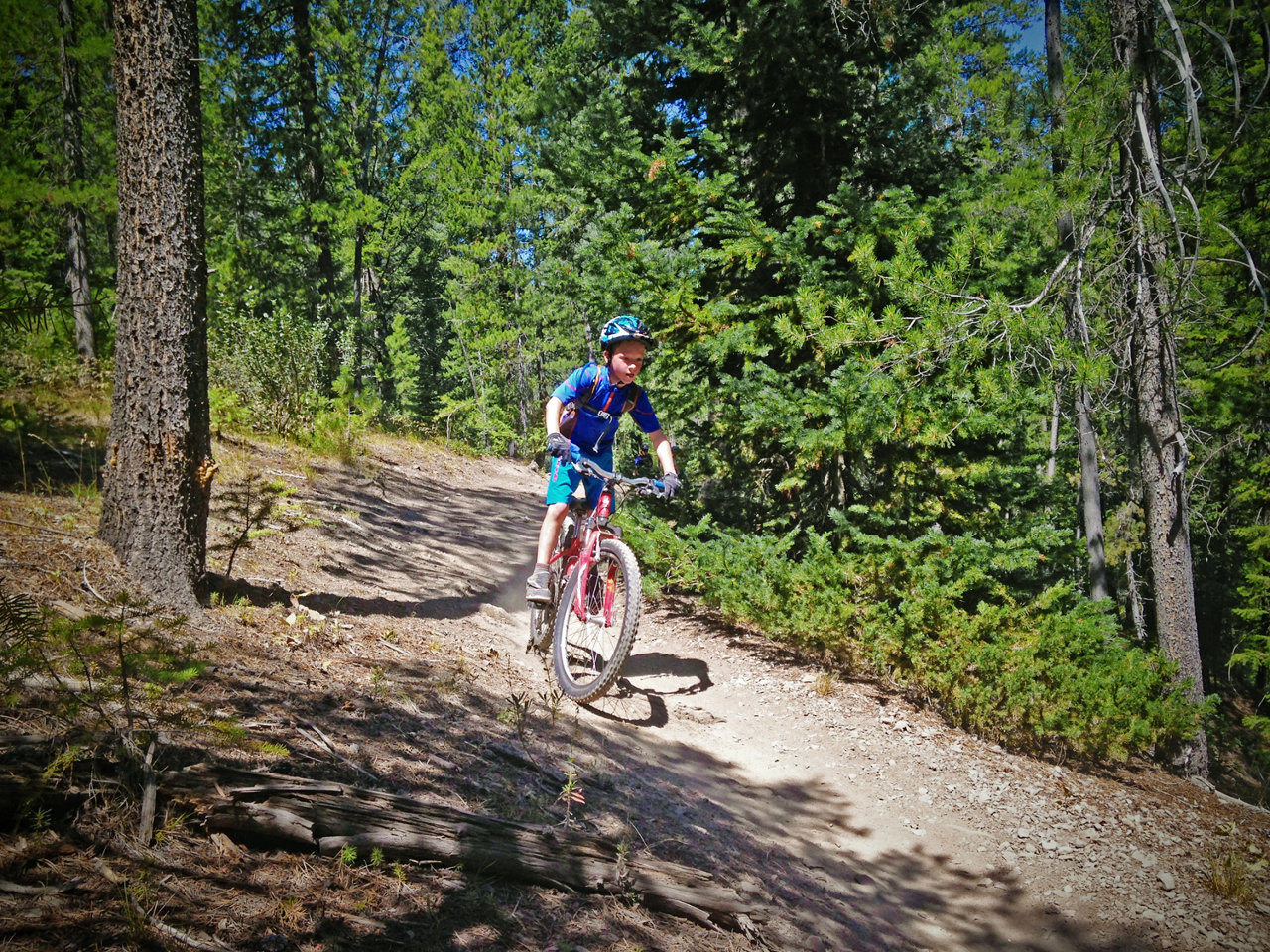 Kid mountain biking in Sun Valley