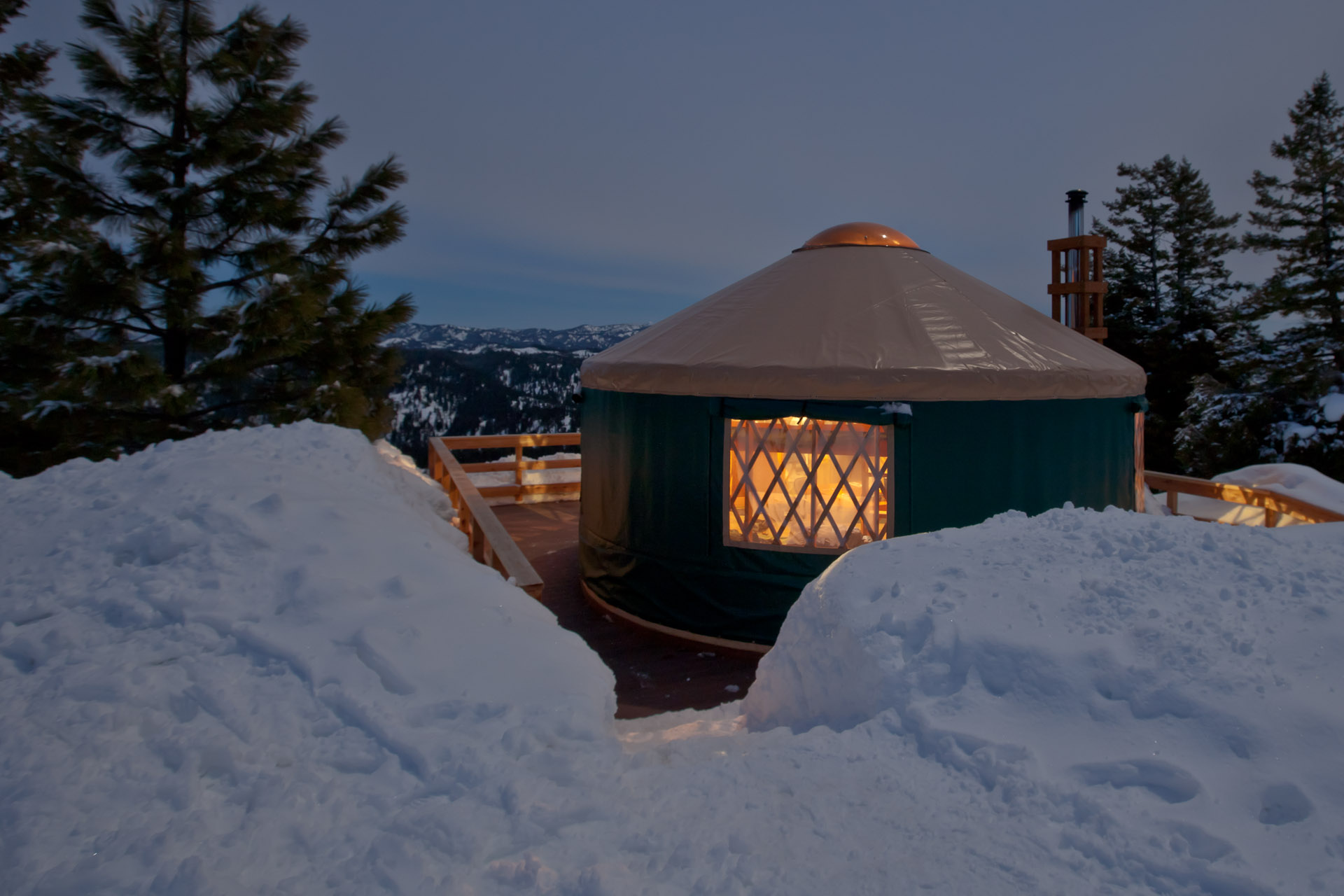Nightfall at Banner Ridge Yurt