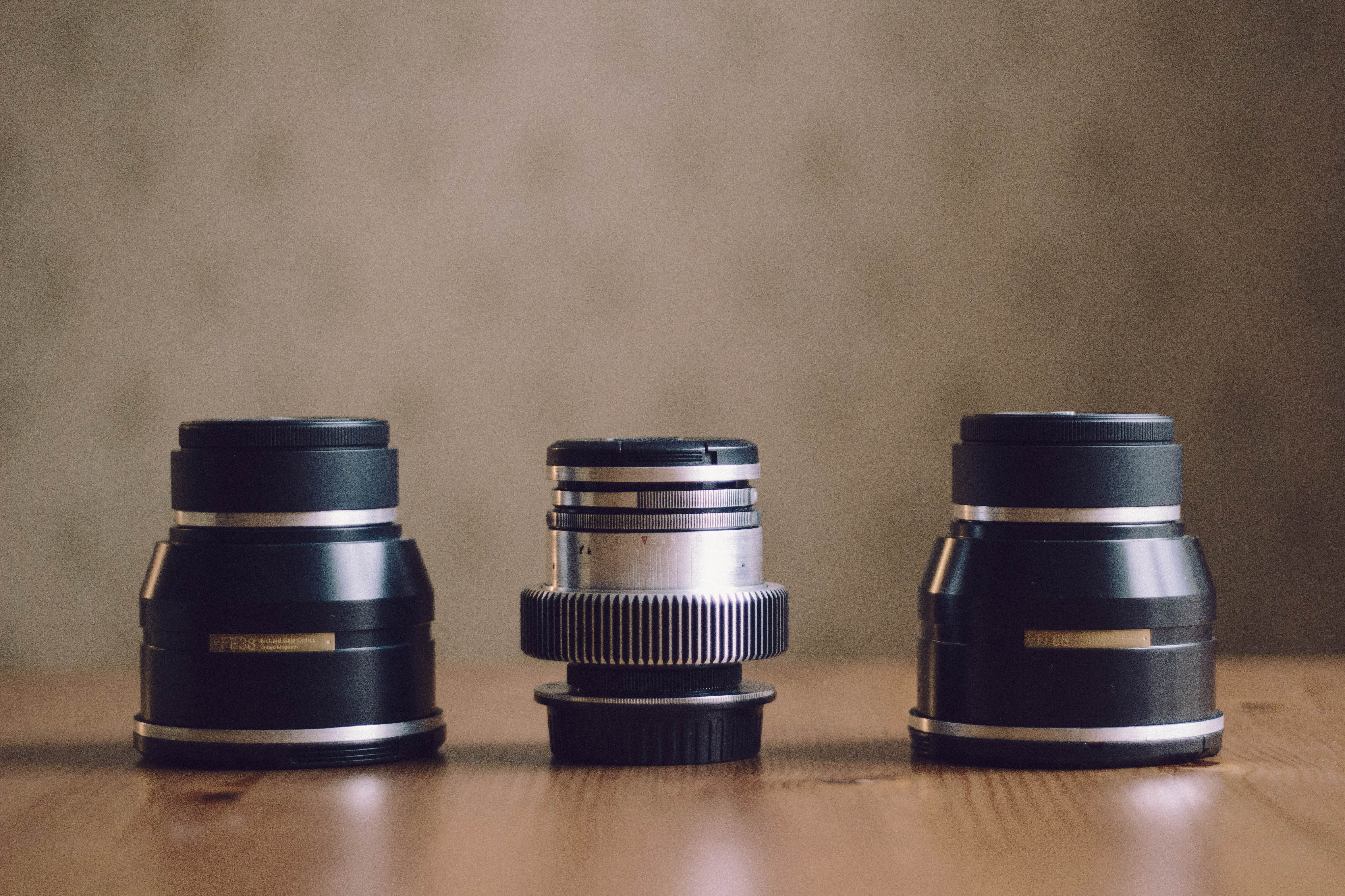 Photo: My Dog Schidt Optics (38mm, 58mm and 88mm). The lenses on the sides are wide and tele converters to the 58mm lens. Anders Lonnfeldt